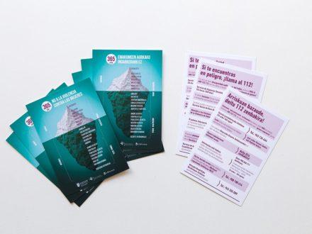 Diseño gráfico de tarjetas, diseño de roll up y gráfica publicitaria para la campaña NO A LA VIOLENCIA CONTRA LAS MUJERES. Cuadrilla de Añana. Álava. Pais Vasco. Euskadi.