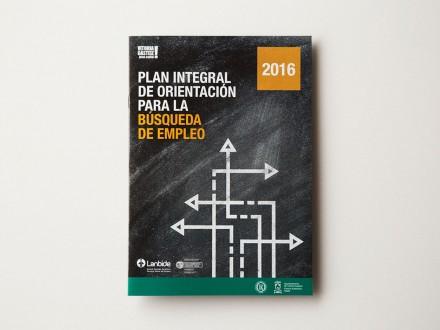 Diseño gráfico y maquetación del folleto del Plan Integral de Orientación para la Búsqueda de Empleo 2016 del Ayuntamiento de Vitoria-Gasteiz. Álava. País Vasco