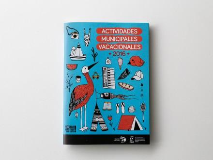 Diseño de portada para las Actividades Municipales Vacacionales del Ayuntamien de Vitoria-Gasteiz. País Vasco.