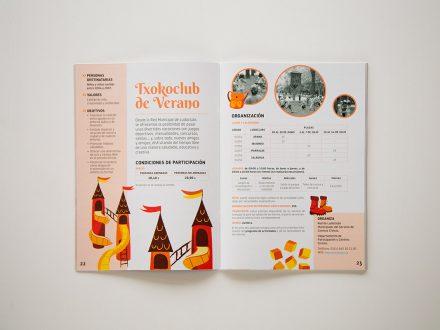 Diseño gráfico de interiores del folleto con las Actividades Municipales Vacacionales del Ayuntamien de Vitoria-Gasteiz 2017. País Vasco.